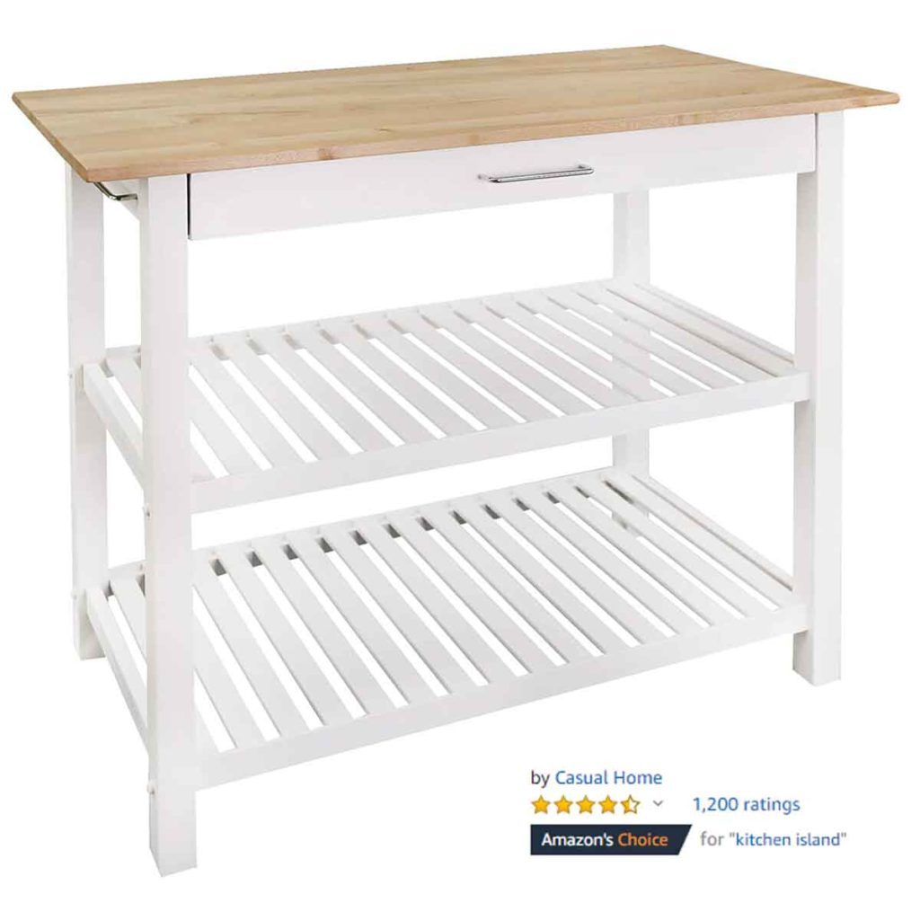 Casual Home Kitchen Island Solid American Hardwood Top 1