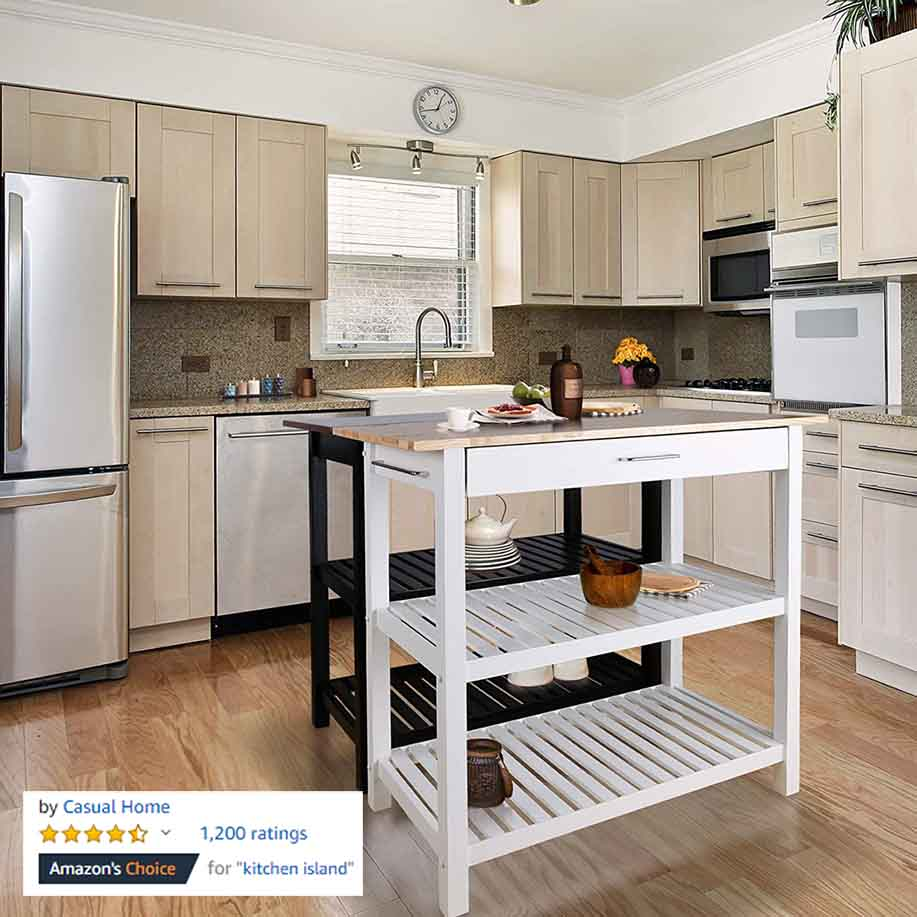Casual Home Kitchen Island Solid American Hardwood Top 2