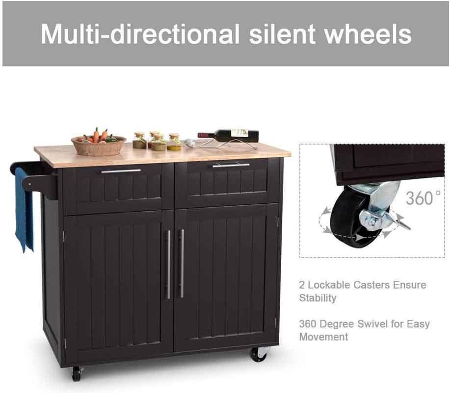 Giantex Kitchen Island Cart Rolling Trolley Utility Cabinet 3