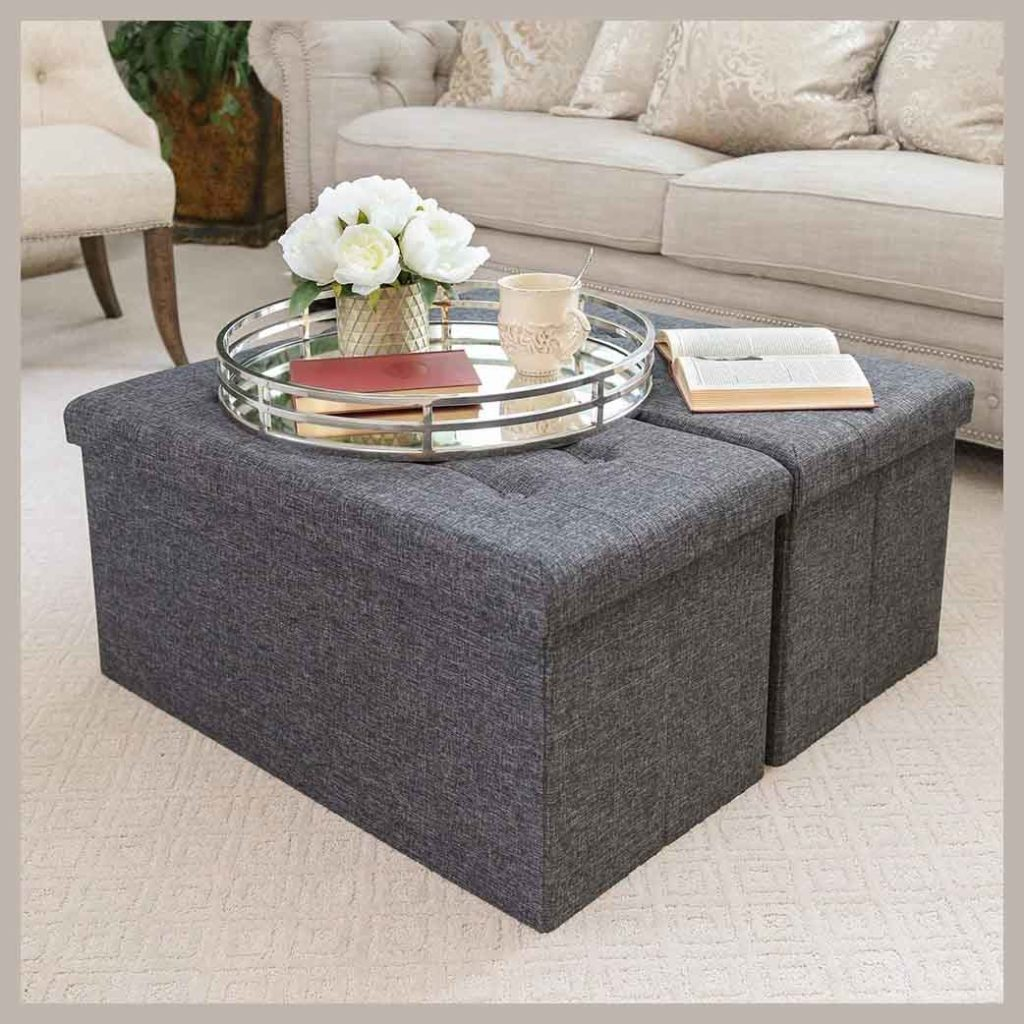 Seville Classics Foldable Tufted Storage Bench,Footrest 2