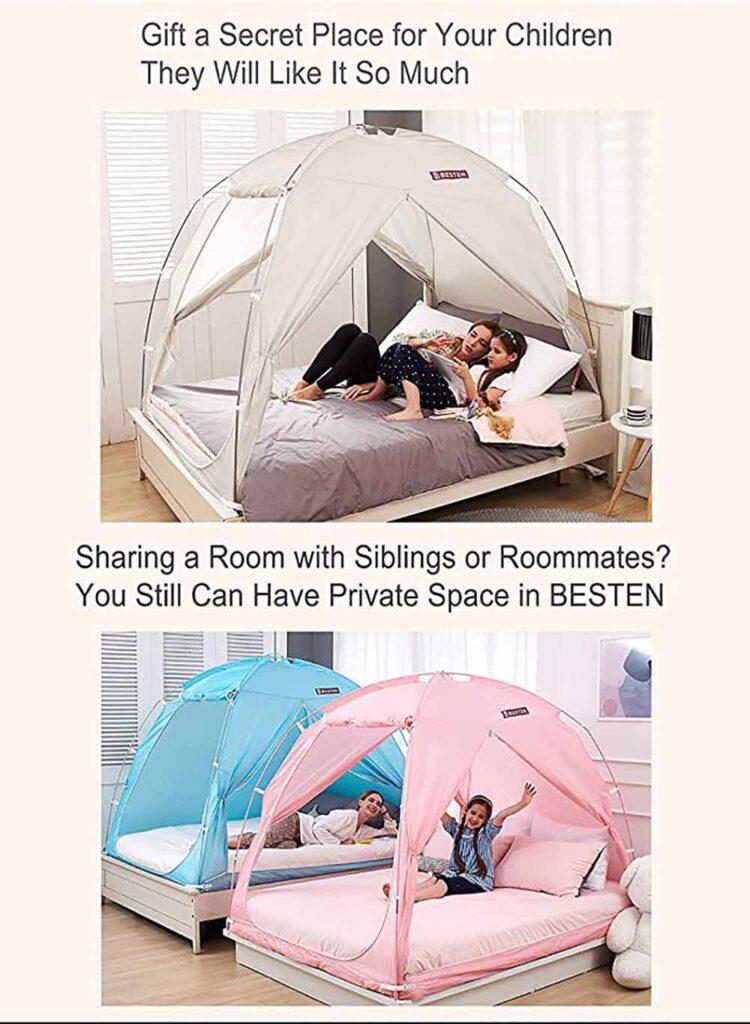BESTEN Floorless Indoor Privacy Tent on Bed 2