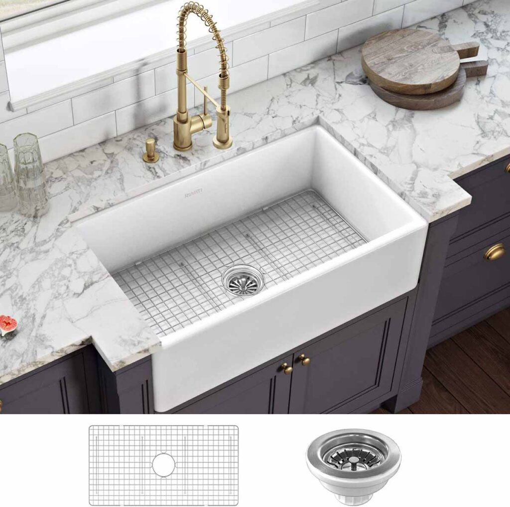 white fire clay apron sink